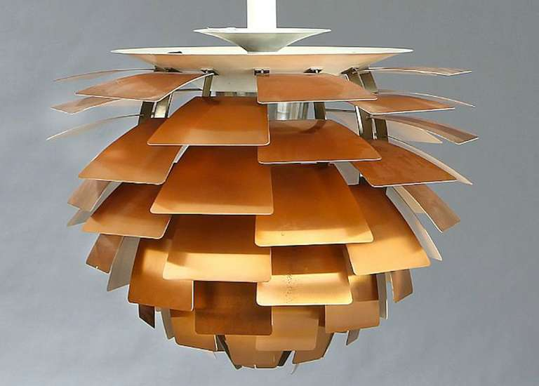 first edition copper poul henningsen artichoke lamp at 1stdibs. Black Bedroom Furniture Sets. Home Design Ideas