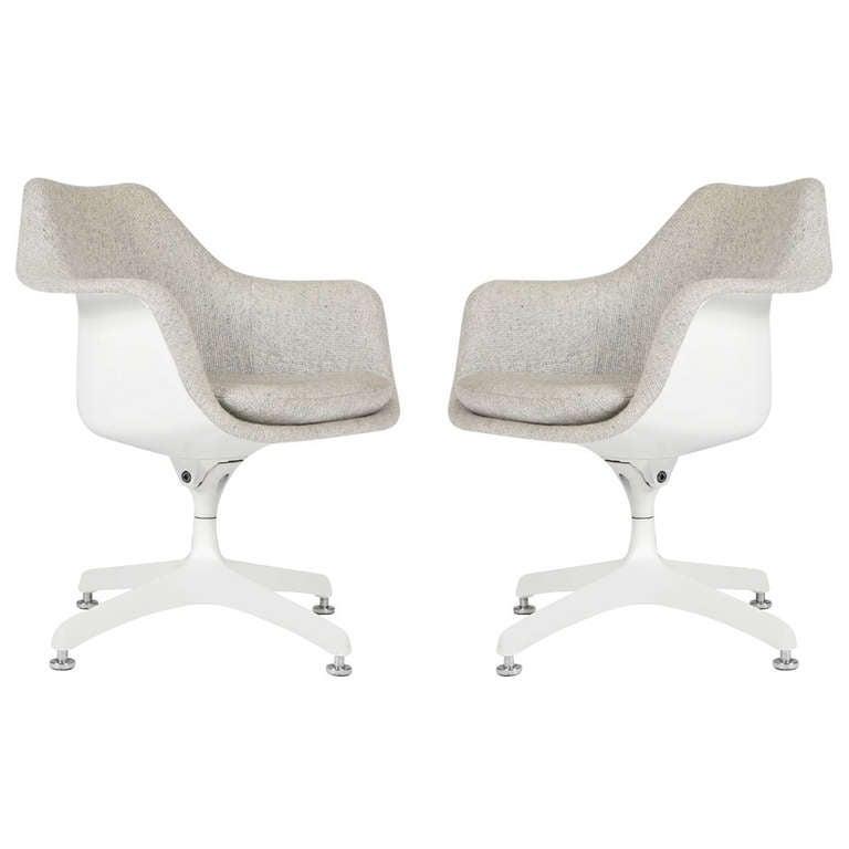 Pair of Eero Saarinen Upholstered Tulip Swivel Desk Chairs for