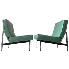 Pair of Leather Parallel Bar Slipper Chairs by Florence Knoll