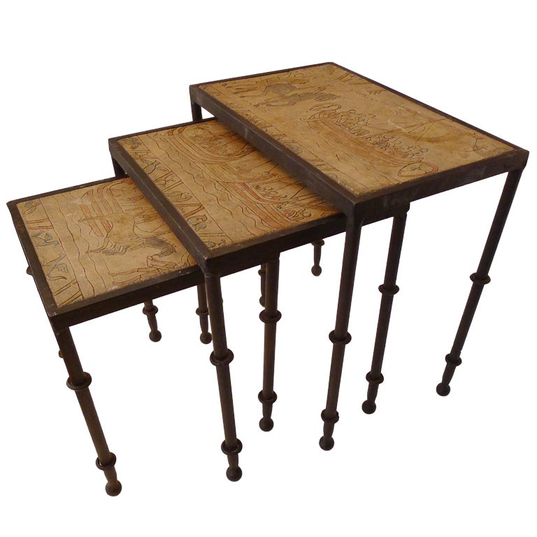 Nest of tables in wrought iron with antique decor tabletop