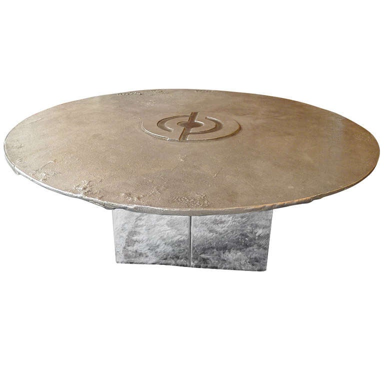 Round Cast Steel Coffee Table With A Chromed Metal Base At 1stdibs