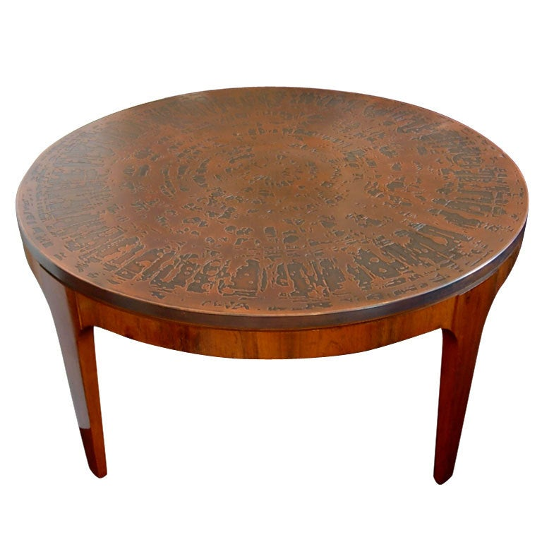 Round Palissander Table With Patinated Copper Table Top Circa 1960 At 1stdibs