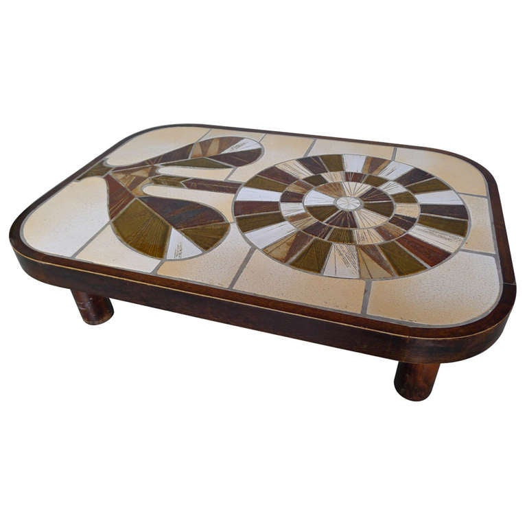 Rectangular Coffee Table With Rounded Edges Signed Capron Valauris France At 1stdibs