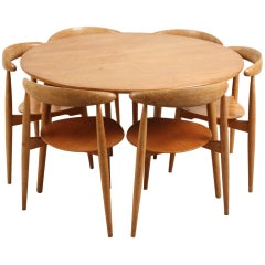 Danish Hans Wegner Three Legged Dining Set