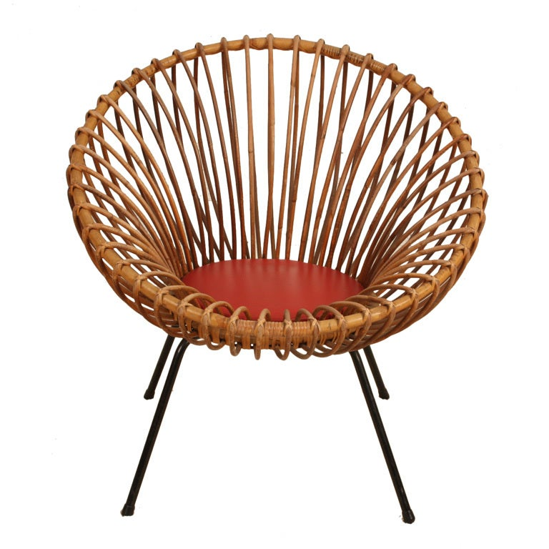 Rattan chair in style of Franco Albini at 1stdibs