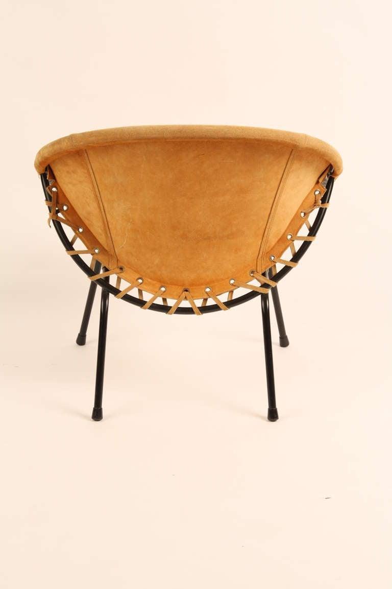 Suede Lusch En Co Circle Chair at 1stdibs
