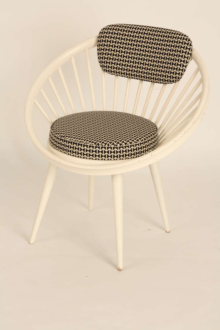 Charmant Circle Chair Of Yngve Ekstrom. White Colored Wooden Circle Chair. The  Cushions Are Reupholstered