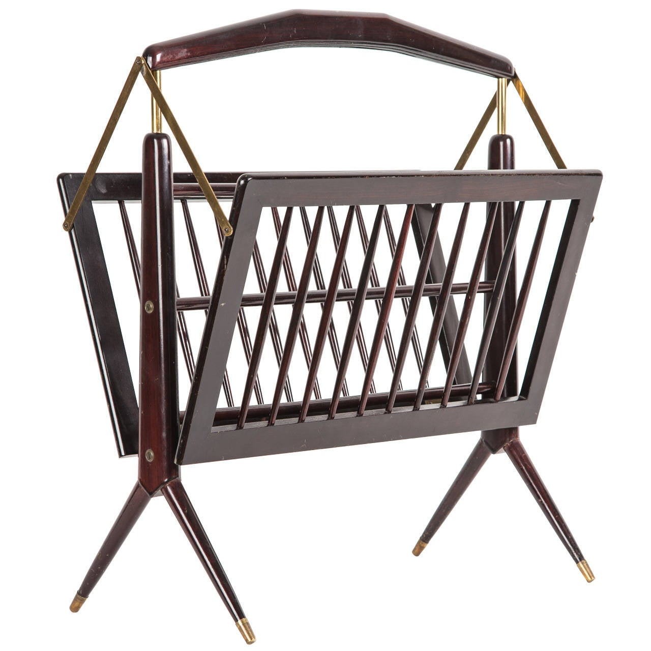 Rosewood Foldable Magazine Stand with Copper Elements in Gio Ponti Style
