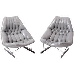 Set of Geoffrey Harcourt Chairs in Grey Leather for Artifort