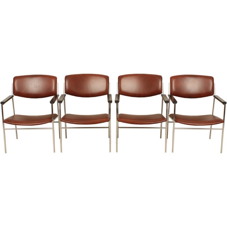 A Set Of Four Dutch Gijs Van Der Sluis Chairs Industrial Style 1