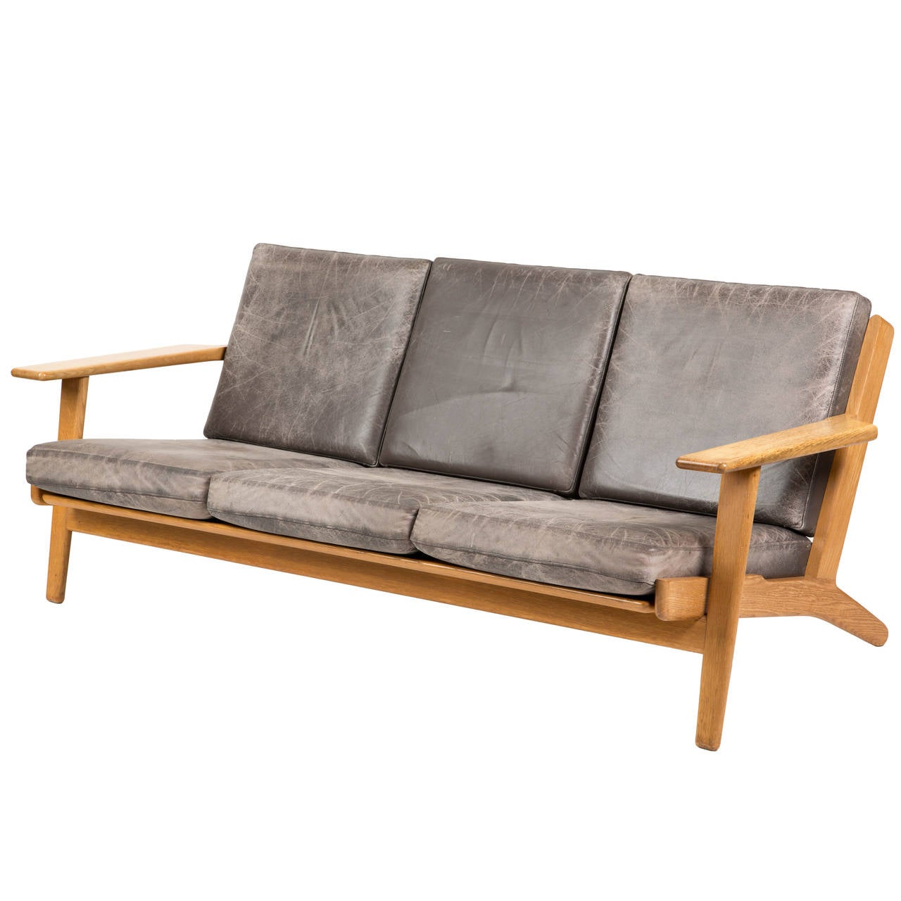 hans wegner getama sofa leather at 1stdibs. Black Bedroom Furniture Sets. Home Design Ideas
