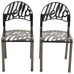 """Hello There"" Artifort Chrome-Plated Chairs Set Jeremy Harvey"