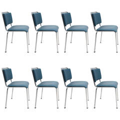 Set of Eight Gispen University Chairs Industrial Chairs