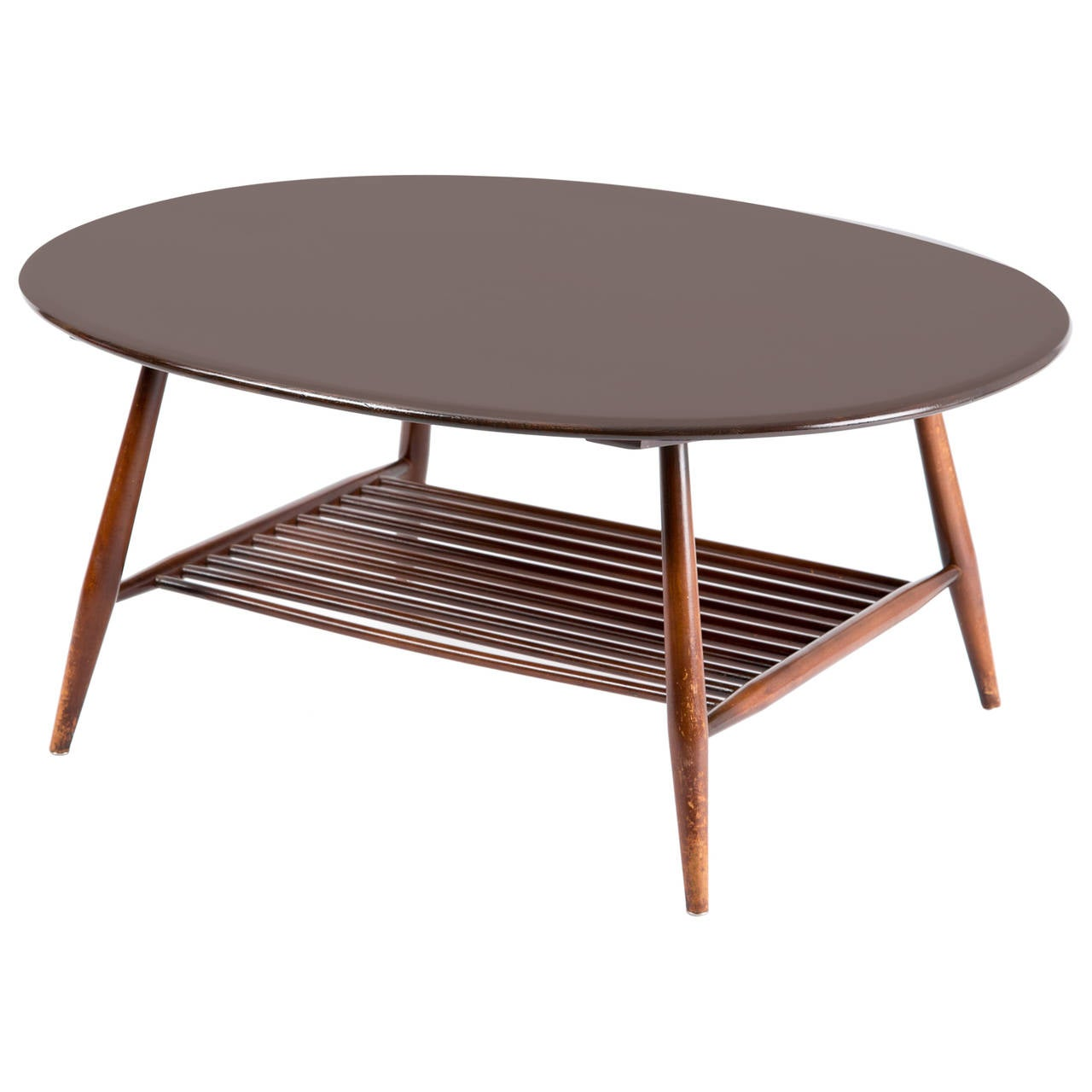 Ercol Oval Coffee Table: Ercol England Oval Table With Magazin Layer At 1stdibs
