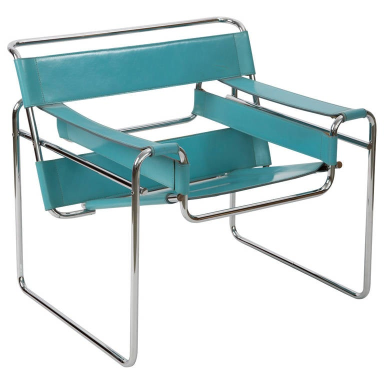wassily chair of marcel breuer in blue leather at 1stdibs. Black Bedroom Furniture Sets. Home Design Ideas