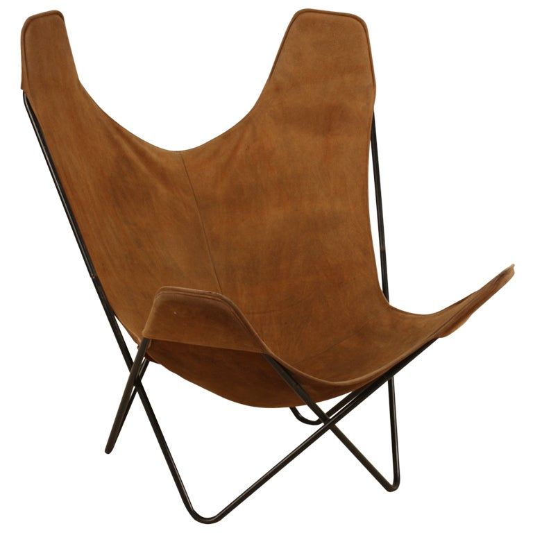 Butterfly Hardoy Ferrari Suede Lounge Chair at 1stdibs