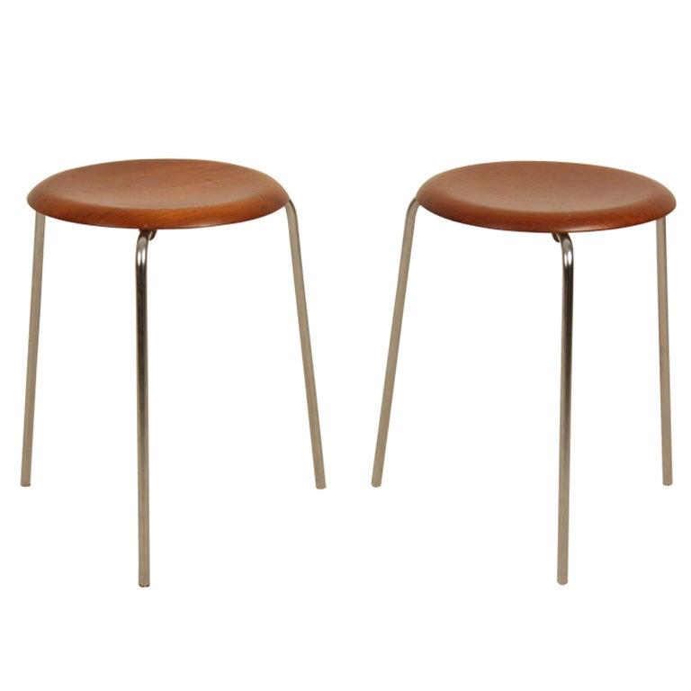 Arne Jacobsen Stools In Teak Three Legs At 1stdibs