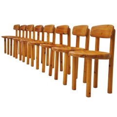 Rainer Daumiller Pine Dining Chairs, Set of Eight, Denmark, 1970