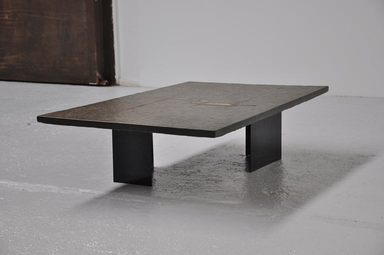 Paul Kingma Slate Brass Stone Art Coffee Table With Brass Details At 1stdibs