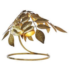 Carlo Giorgi Brass Leaves Table Lamp Italy 1970
