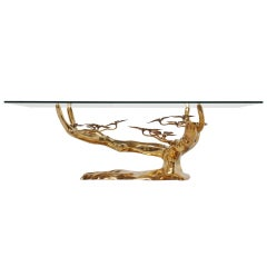 Willy Daro Brass Coffee Table In Tree Form 1970