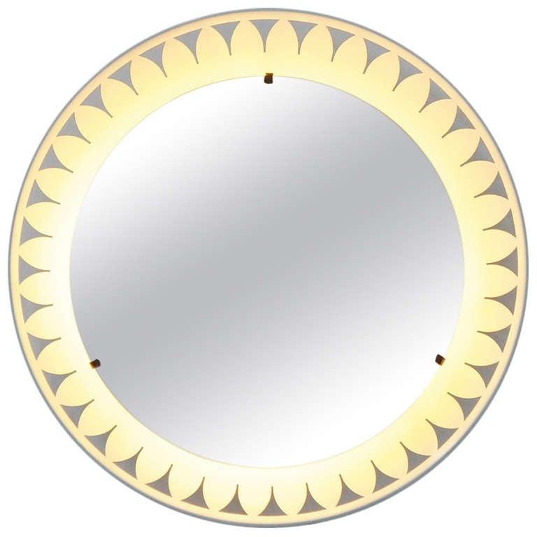 illuminated mirror in the manner of lien vautrin