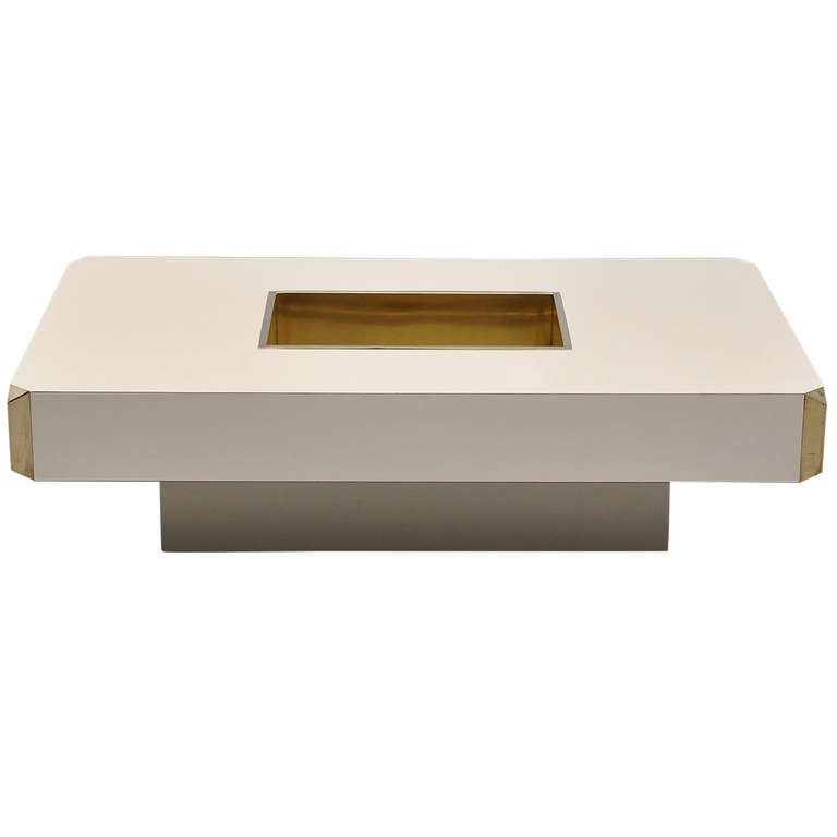 Willy Rizzo Alveo Coffee Table In Off White And Brass Italy 1972 At 1stdibs