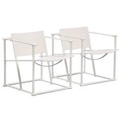 Radboud van Beekum FM61 White Cubic Chairs for Pastoe, 1980