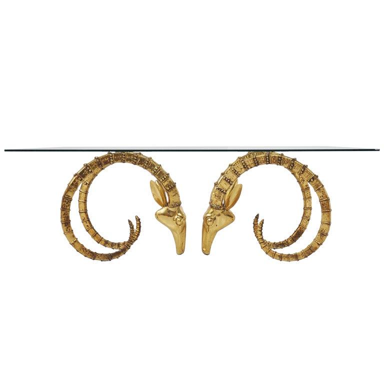 Ibex Coffee Table In Brass Gazelle Rams Head Shaped Attr