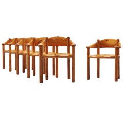 Rainer Daumiller dining chairs in pine Denmark 1960