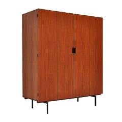 Pastoe Japanese series wardrobe teak with metal frame