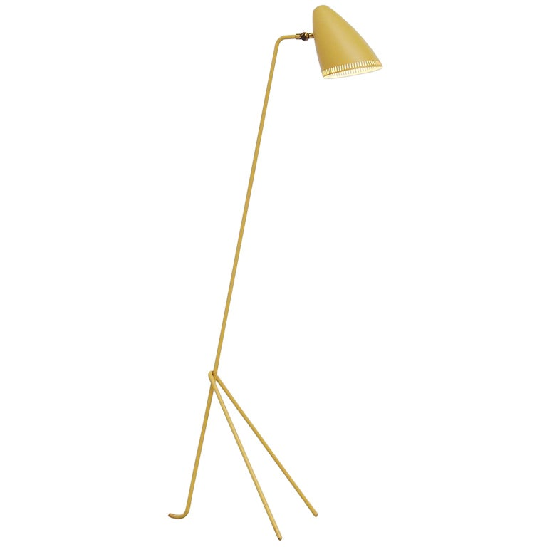 Swedish yellow grasshopper floor lamp asea 1950 at 1stdibs for Giant floor lamp yellow