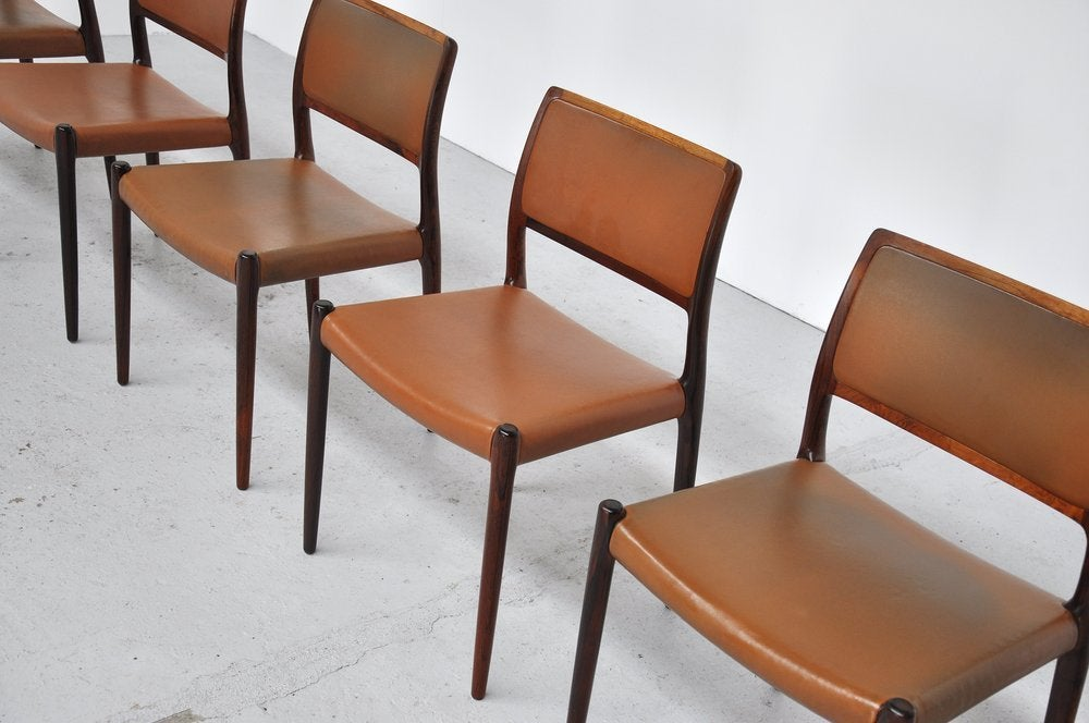 Niels Moller Model 80 Rosewood Chairs Denmark At 1stdibs