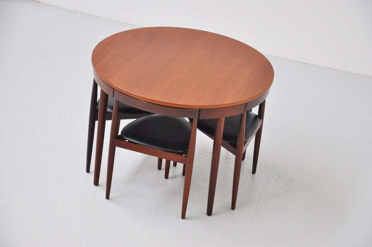 Danish Hans Olsen Frem Rojle dining set in teak Denmark 1953 For Sale