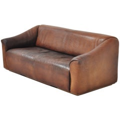 De Sede DS47 3 seater sofa in brown thick Bullhide 1970