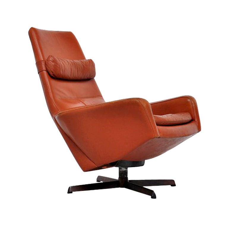 bovenkamp leather swivel lounge chair danish inspired at 1stdibs