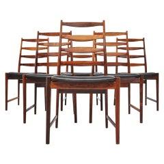 Arne Vodder Vamo Sonderborg high back dining chairs rosewood 1960