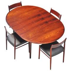 Niels Koefoed Rosewood Extendable Dining Table, Denmark, 1960