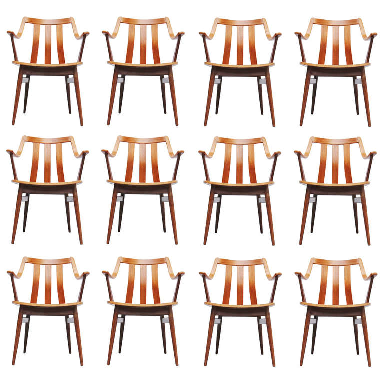 20 Dutch Plywood Dining Chairs in the Manner of Hans Brattrud, 1960