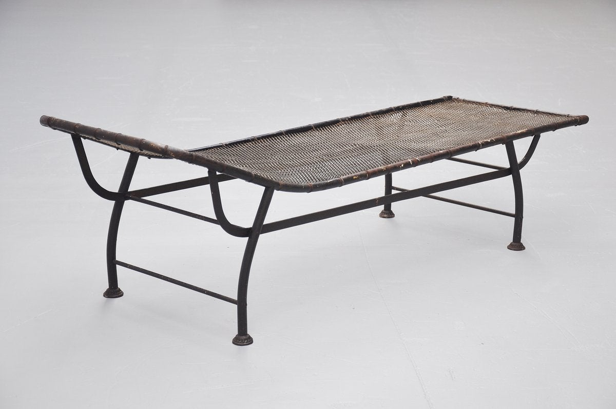 Lacquered Industrial Daybed In The Manner Of Jean Prouve 1930 For Sale
