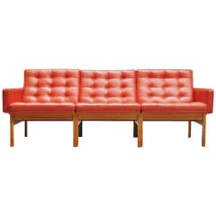 Ole Gjerløv-Knudsen Moduline Sofa in Oak and Leather, 1960