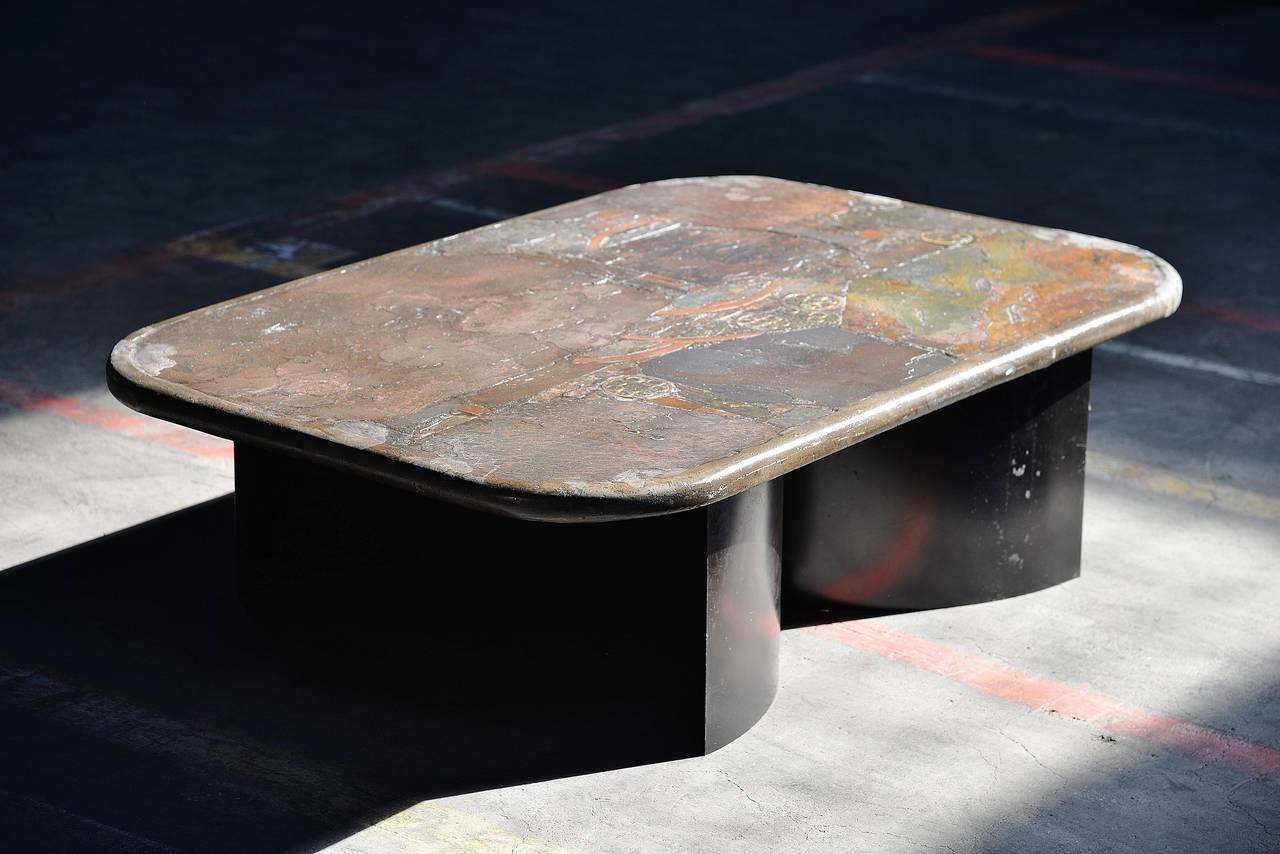 Paul Kingma Unique Art Slate Concrete Coffee Table 1985 At 1stdibs