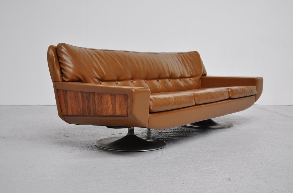 Faux Leather Camel Couch