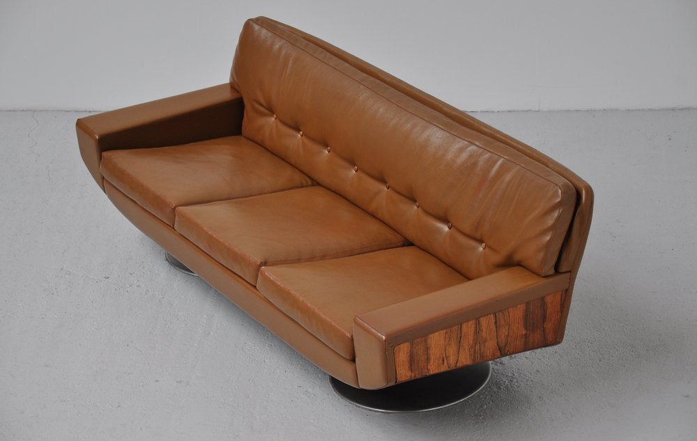 topform camel colored leather sofa with rosewood details