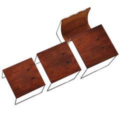 Rosewood Nesting Table Set And Leather Magazine Holder Kjaerholm