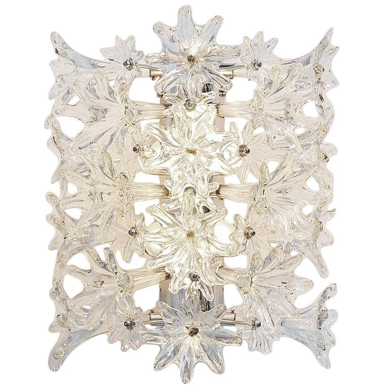 Venini Esprit Flower Wall Lamp Clear Glass 1960 at 1stdibs