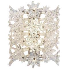 Venini Esprit Flower Wall Lamp Clear Glass 1960