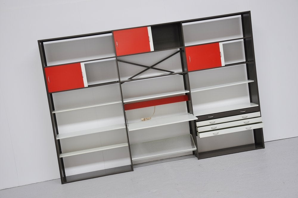 Pilastro Modular Bookcase Unit In Colored Metal At 1stdibs