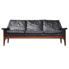 Bovenkamp leather and rosewood three seater sofa 1960
