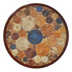 Tue Poulsen Ceramic Art And Wood Coffee Table Colored Tiles Denmark 1960